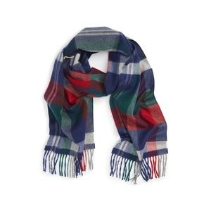 Nordstrom Plaid 100% Cashmere Scarf in Blue Red